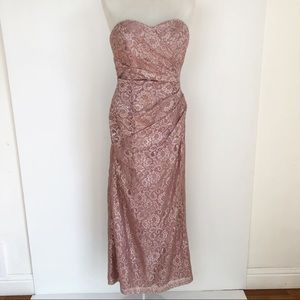 David's Bridal rose gold Long Strapless Lace Dress